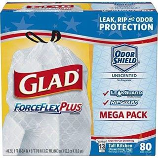 ✔ Glad OdorShield Tall Kitchen Drawstring Trash Bags - No Scent - 13 Gallon - 80 Count ✔