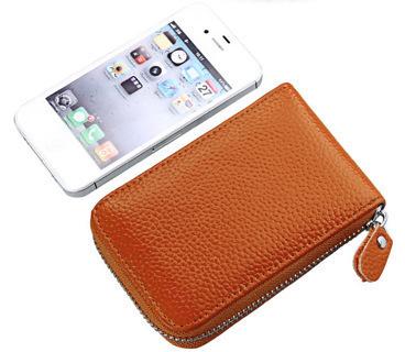 Wallets Card Women Credit Genuine Leather ,Brown Zipper Wallet Case
