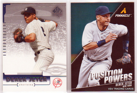 2x Derek Jeter Cards, 2013 Panini Pinnacle Card #PP16 & 2004 Upper Deck #5 Card, New York Yankees