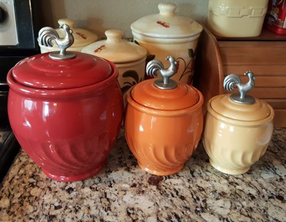 Free Lillian Vernon Three Piece Rooster Canister Set Kitchen Flour Sugar Tea Kitchen Listia Com Auctions For Free Stuff