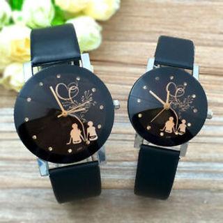 2PCS Women's Men's Couple Student Watches Stainless Steel Quartz Wrist Watch US