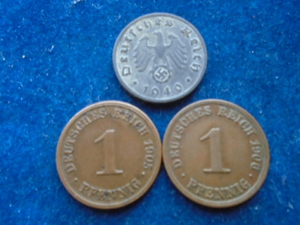 1905 1906 & 1940 OLD GERMAN COINS THIRD REICH COIN!