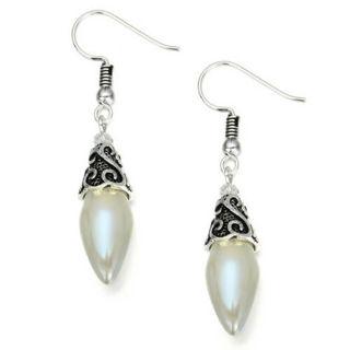 Ladies White Opalite Dangle Earrings NEW