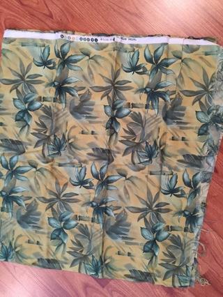 Green leaf print fabric 1+yard