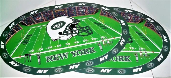 "2 NFL New York Jets pliable plastic placemats - size 17"" X 11 1/4"""