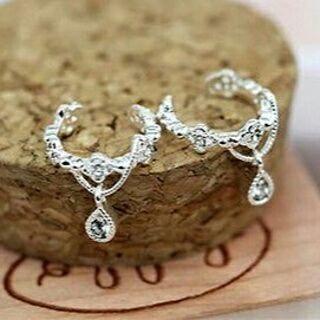 [GIN FOR FREE SHIPPING] Women Ear Cuff Wrap Rhinestone Crystal Clip On Earring