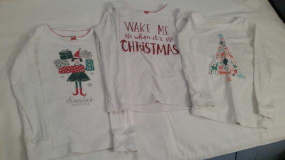3 Girls' 4-5 Toddler Xmas Pajama Tops
