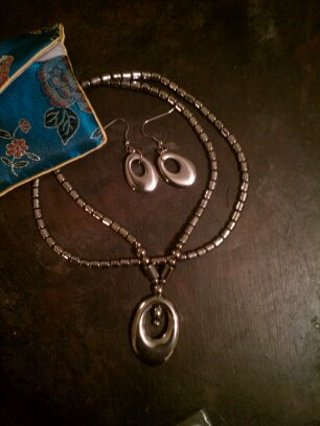 Hematite necklace and earring set