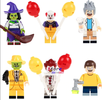 Single Witch the Mask Magical Comedy TV Cahracter Pennywise Joker Rick Morty building blocks