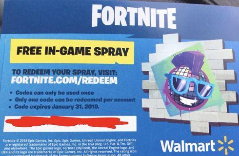 fortnite exclusive walmart spray code sale - fortnite free in game spray code