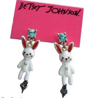 Betsey Johnson Snow Angel Bunny Earrings