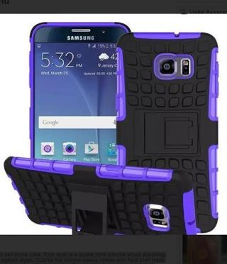 NEW SAMSUNG GALAXY s6 PURPLE HYBRID◎ Case HOUSING Scratch-Resistant Shock Absorbent w/NonSlip Stand