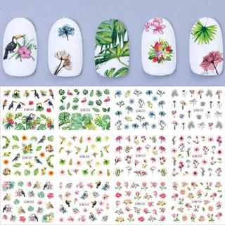 12pcs/set Nail Sticker Summer Water Transfers Stickers Charms Stencils Tips for Nails Art Daisy Ro