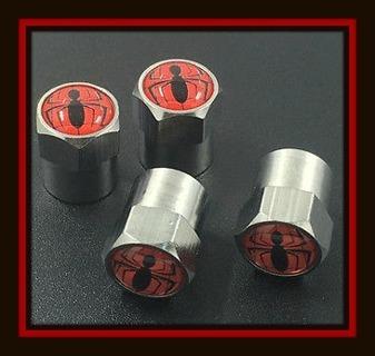 4-Piece Set of SPIDERMAN SPIDER Tire VALVE Stem CAPS!