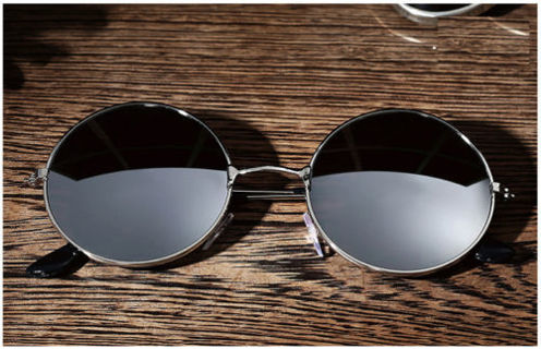 Sunglasses - Round Mirrored Sliver Sunglasses