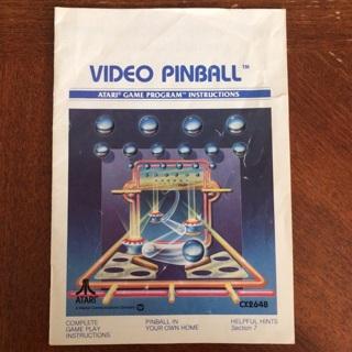 Video Pinball video game instruction manual for Atari 2600