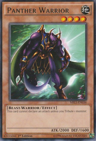 """Rare 1st Edition """"Panther Warrior"""" MIL1-EN036 Yugioh card + sleeve"""
