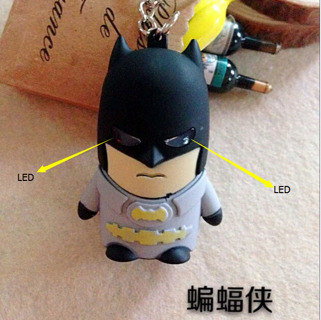 Superhero Avengers LED Keychain Batman Keyring Flashlight Key Pendant For Children Gift