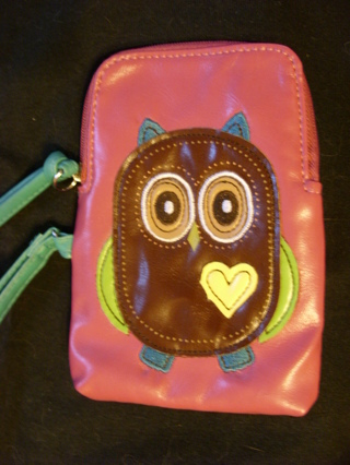 Cute owl case for smartphone, thin camera, money and credit cards