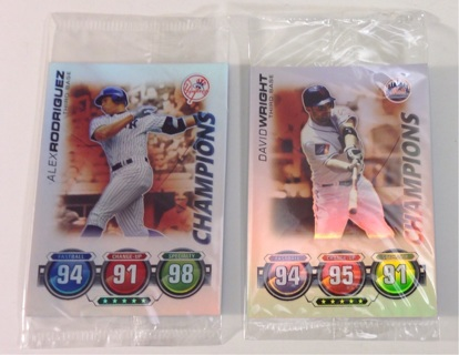 Alex Rodriguez and David Wright Topps 2010 Attax Champions Foil Baseball Trading Cards NEW Sealed!
