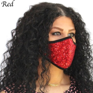 Red bling sequins washable face mask