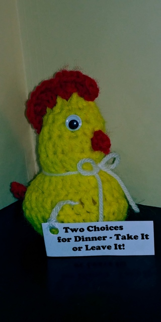 Crochet Chicken (B-7612) Yellow/Red trim -- Two Choices for Dinner. Take it or leave it!