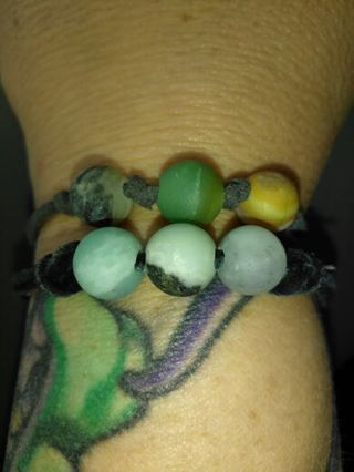 Amazonite Triple Leather Knot Bracelet from Painted Ladies Arts