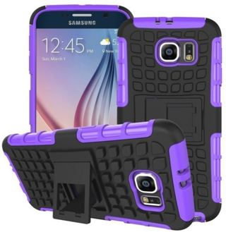 NEW SAMSUNG GALAXY s6 PURPLE HYBRID◎ Case HOUSING Scratch-Resistant Shock Absorbent NonSlip Stand