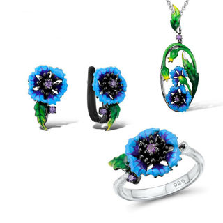 2020 Handmade Enamel Art Blue Cornflower Flower Set Ring + Earrings + Necklace