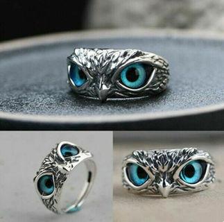 Fashion 925 Silver Blue Eye Owl Ring x1