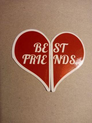 Kawaii BE FRIENDS Heart Vinyl Decal Sticker ~ 2 STICKERS ~ NEW!