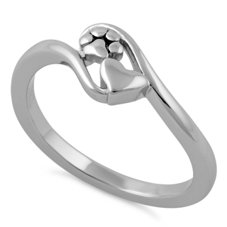 •°•°•❥ Sterling Silver Paw & Heart Ring ❥•°•°•