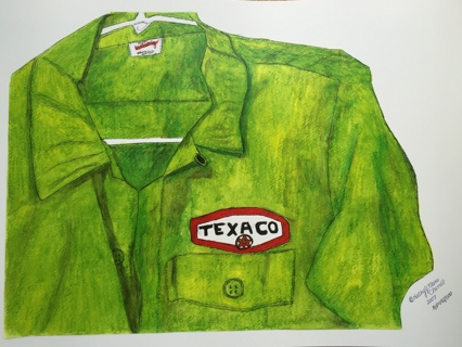Vintage Texaco Gas Station Attendant Shirt Watercolor Print 12 X 18