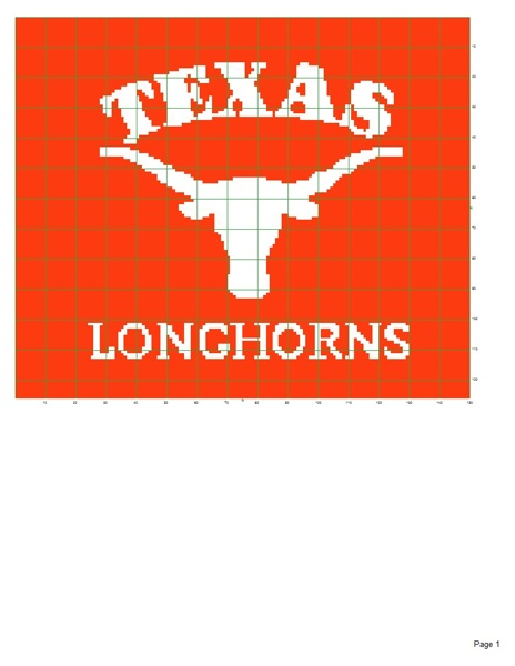 Crochet Pattern For Texas Longhorn Afghan : Free: Texas Longhorns afghan pattern - Crochet - Listia ...