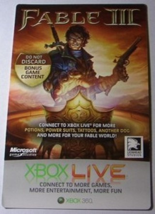 Free: Fable 3 bonus content DLC code for Xbox 360 - Video Game