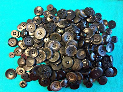 Lot of 224 Buttons for Sewing, Crafting, Projects - Blacks/Gray Matching Sets