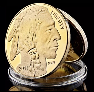 1 NEW Buffalo .999 Fine Gold Buffalo Coin Bar Replica with Case FREE SHIPPING