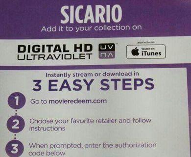 Sicario iTunes digital code only
