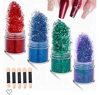 IDALL Nail Art Glitter Powder - 4 Boxes Mixed Color Acrylic Nails Powder