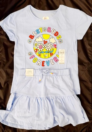 GIRLS 2 PIECE SIZE 6 T-SHIRT & SKIRT WITH ATTACHED SHORTS***TO CUTE***