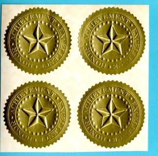 4 Embossed GOLDEN FOIL Award Stickers CERTIFICATES