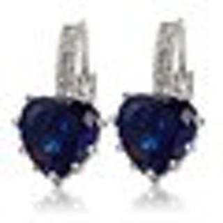 Women's 18K White Gold Plated Sapphire Blue Crystal Heart Leverback Earrings~BNIP