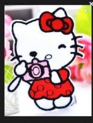 NEW HELLO KITTY IRON ON Patch Travel Camera Kittie Cat Clothing Embroidery Applique Decoration