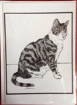 """GREY TABBY CAT  - 5 x 7"""" art card by artist Nina Struthers - GIN ONLY"""