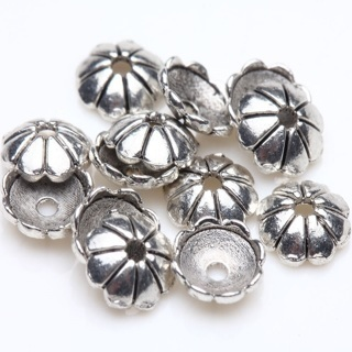 200Pcs Flower Charms Tibet Silver Beads Caps Jewelry DIY Findings Craft 6mm