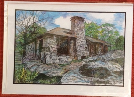 """STONE CABIN ON MT. NEBO - 5 x 7"""" art card by artist Nina Struthers - GIN ONLY"""