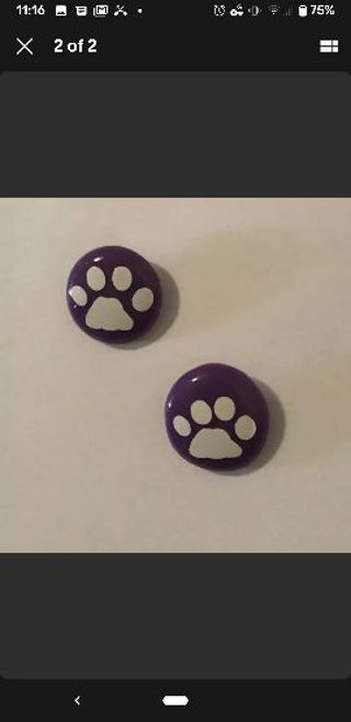 Perler Earrings Puppy Feet Pink and Purple Combo Pack 5 pairs of each