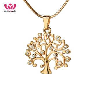 Small Rhinestone Tree Of Life Pendant Necklace For Women Gold Crystal Choker Necklace Fashion Jewe