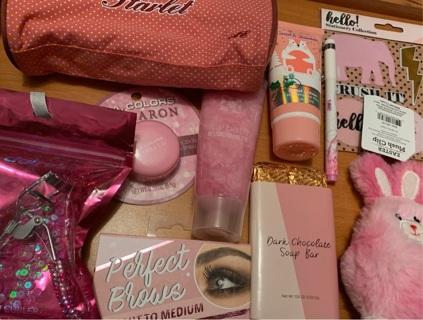 An ocean of PINK!!! Stuffed Makeup Bag!!