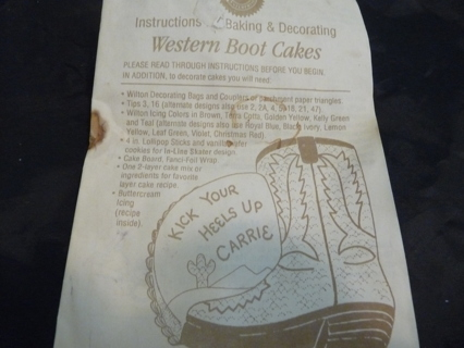 Free Wilton Baking And Decorating Instructions For Vintage Western